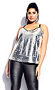 Plus Size Glimmer Top - silver