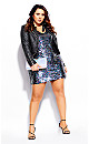 Plus Size Sequin Glam Dress - silver