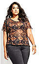 Plus Size Mesh Tie Dye Top - black