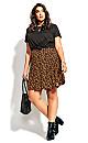 Plus Size Golden Ditsy Skirt - black