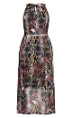 Plus Size Serpent Snake Maxi Dress - black