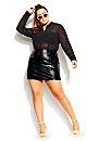 Plus Size Mini Vinyl Skirt - black
