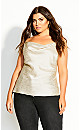 Plus Size Cowl Zebra Cami - cream