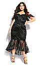 Plus Size Lace Aflutter Dress - black