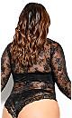 Boudoir Lace Long Sleeve Bodysuit - black