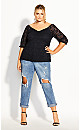 Plus Size Lace Elbow Sleeve Top - black