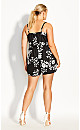 Plus Size Night Floral Playsuit - black