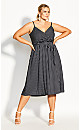 Plus Size Elegant Stripe Dress - black