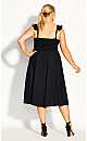 Plus Size Button Cheer Dress - black