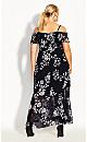 Plus Size Night Garden Maxi Dress - black