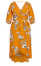 Plus Size Serene Floral Maxi Dress - gold