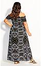 Plus Size Tribal Queen Maxi Dress - black