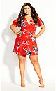 Paris Floral Dress - red
