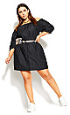 Plus Size Denim Heart Dress - black