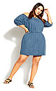 Plus Size Denim Heart Dress - denim