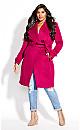 Plus Size So Sleek Coat - fuchsia