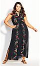 Boho Bouquet Maxi Dress - black