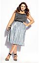 Liquid Pleat Skirt - silver