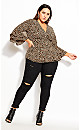 Plus Size Wrap Cheetah Shirt - cheetah