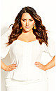 Plus Size Bubble Sleeve Top - ivory
