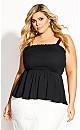 Sleek Shirred Top - black