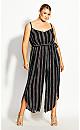 Plus Size Romance Stripe Jumpsuit -black