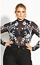 Plus Size Mono Floral Bodysuit - black