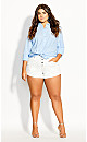 Plus Size Denim Cuff Short - white