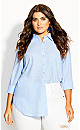 Plus Size Cotton Shirt - blue
