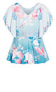 Tsubaki Floral Short Sleeve Top - cerulean