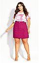 Plus Size Cute Mini Skirt - raspberry