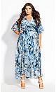 Moody Floral Maxi Dress - azure