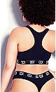Plus Size CCX Logo Cotton Thong - black