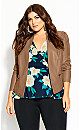 Plus Size PU Embrace Jacket - caramel
