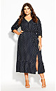 Plus Size Spotty Tier Dress - navy
