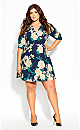 Plus Size Shibuya Floral Dress - navy