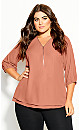 Plus Size Sexy Fling Elbow Sleeve Top - guava
