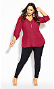 Plus Size Sexy Fling Elbow Sleeve Top - sangria