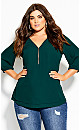 Plus Size Sexy Fling Elbow Sleeve Top - forest