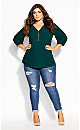 Plus Size Sexy Fling Elbow Sleeve Top - sea green