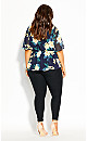Plus Size Shibuya Floral Top - navy