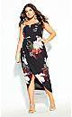Plus Size Pixel Floral Dress - black