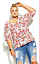 Plus Size Floral Botanica Top - pink