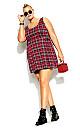Plaid Pini Dress - scarlet