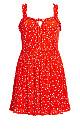 Plus Size Mini Botanical Dress - red