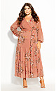 Plus Size Floral Tiered Maxi Dress - guava
