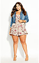 Plus Size Sweet Floral Playsuit - oatmeal