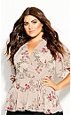 Plus Size Flower Child Top - oatmeal