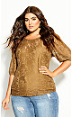 Plus Size Lace Elegance Top - whisky