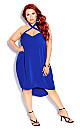 Plus Size X Front Dress - electric blue